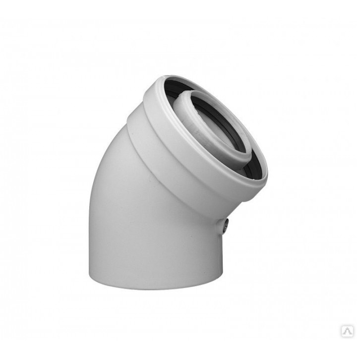 Отвод коаксиальный Krats D 60/100 45˚ алюминий