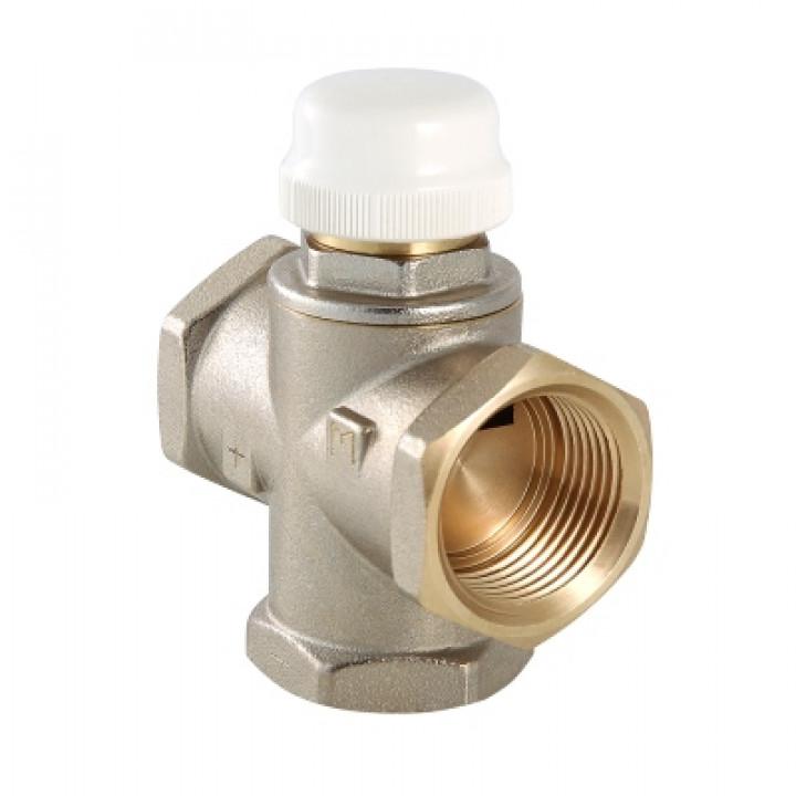 """Клапан термостатический смесительный VALTEC 1"""" с бок.смеш, (с возможн. полн перекр. белый колпачек)"""